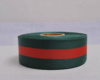 "1 Yd x 40mm (app.1 1/2"") Double Face Forest Green and Red Stripe Soft Grosgrain Ribbon"