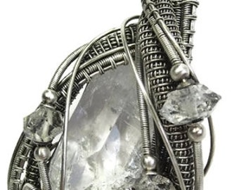 Wire-Wrapped Natural Quartz Crystal Pendant in Antiqued Sterling Silver with Herkimer Diamonds