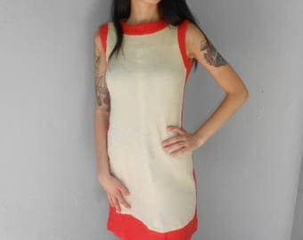 Vintage 1960s ALYCE AYRES mod cream & pink wool shift dress, size XS