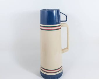 Vintage Aladdin Thermos Blue and Beige Mid Century 1970s 1980s  Vacuum Bottle
