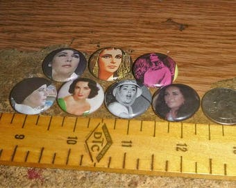 ELIZABETH TAYLOR 7 one inch pin back buttons badge set