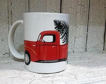 Christmas truck mug, Red pick up truck mug, Christmas mug, truck with tree
