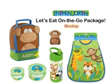 """Personalized """"Let's Eat"""" 6-Piece On-the-Go Monkey Package by Stephen Joseph"""