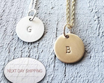 Sterling Initial Necklace - Gold Initial Necklace - Initial Necklace - Bridesmaids Gifts For Her - Bridesmaid Jewelry - Monogram Necklace -