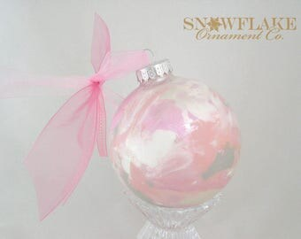 PINK BLOSSOM Custom Christmas Ornament - Personalized Glass Gift