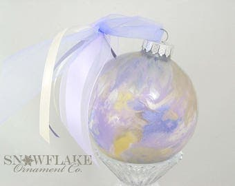 PALE PURPLES  Custom Christmas Ornament - Personalized Glass Gift