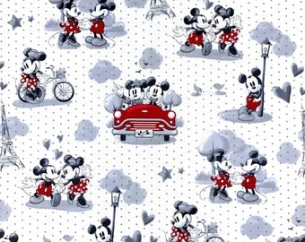 Mickey & Minnie Mouse, Disney fabric, Fun children fabric, Cartoons fabric 100% cotton for Quilting and general sewing projects