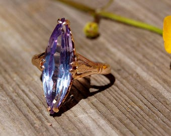 14K Rose Gold Russian Sapphire Alexandrite Ring