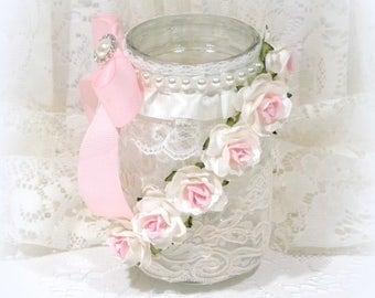 Shabby Chic Mason Jar, Lace Mason Jar, Shabby Chic Decor, Vanity Decor, Mason Jar Storage, Pint Mason Jar, Mason Jar Vase, Candle Jar