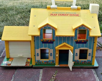 Vintage Fisher Price Play Family House 1969 For Sale | Bring Your Own Tenants & Furniture | FP Doll House Only | Excellent Lithos Overall