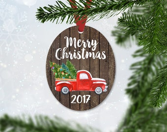 Red Christmas Truck Ornament with Merry Chrismas and 2017 Year, Christmas Gift, Keepsake Wedding Gift, Faux Wood and Truck Ornament (053)