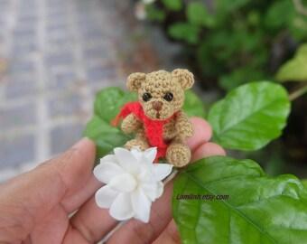 crochet tiny miniature bear 1 2/3 inch - dollhouse amigurumi  Teddy bear - tiny stuffed animal