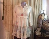 Shabby Chic Blouse, long tea dyed blouse with pastel pinks blues, handmade altered shabby cottage clothes MEDIUM