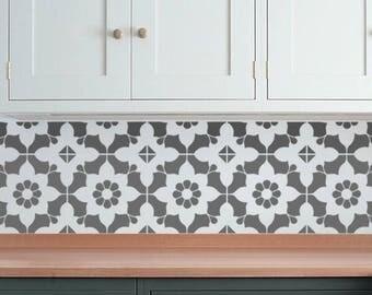 Moroccan Wall STENCIL -  Tile Pattern no. 7 - REUSABLE, Easy Wall Decor, DIY Home