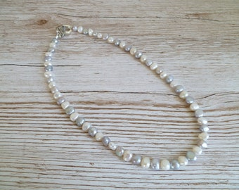 Pearl Necklace Ivory and Silver Grey Fresh Water Pearls with toggle clasp UK made