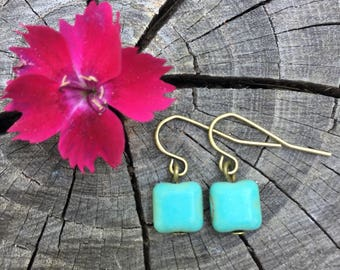 Turquoise Magnesite Squares . Earrings