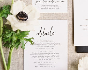Minimal black & white wedding details card invitation, simple calligraphy, customizable