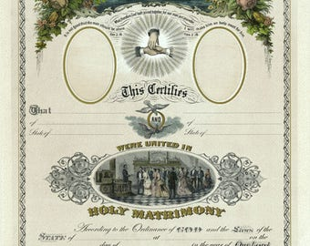 Antique Wedding Certificate Colorized Reproduction Print from Curious London