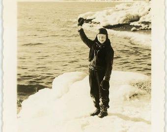 "Vintage Photo ""Joe and the Snowy Beach"" Snapshot Antique Black & White Photograph Found Paper Ephemera Vernacular Interior Design Mood - 127"