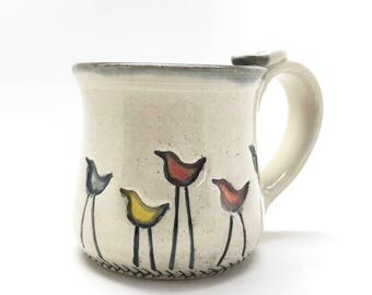 Walking Bird Pottery Mug READY TO SHIP