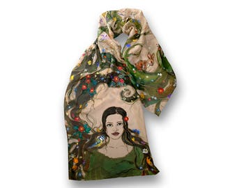 Beautiful painted scarf, wood nymph long hair, rabbit and wild flowers, Fairy, Elf, Sophia, allegory of Summer, Samodiva, Creator, Earth