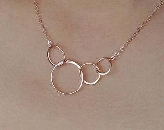 ROSE GOLD Necklace Four Circle Necklace Linked 40th Birthday Christmas Gifts for Women 4 Bridesmaid Gifts 4th Anniversary 4 Sisters Gift