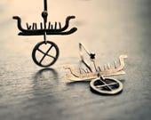 Reserved - Tales of Journeys - Oxidized sterling silver viking earrings, art jewellery, rock art, pictogram