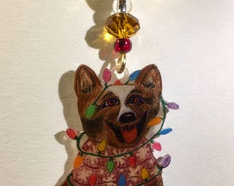 Happy Dog Christmas Ornament