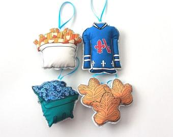 Québec ornament set: Décorations de sapin de Noël- Canadian tree decorations