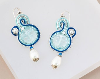 Something Blue and White Earrings, Ice Blue, Blue and Silver Dangle Earrings, Milk White Swirl Drop, Mother of the Bride Earrings