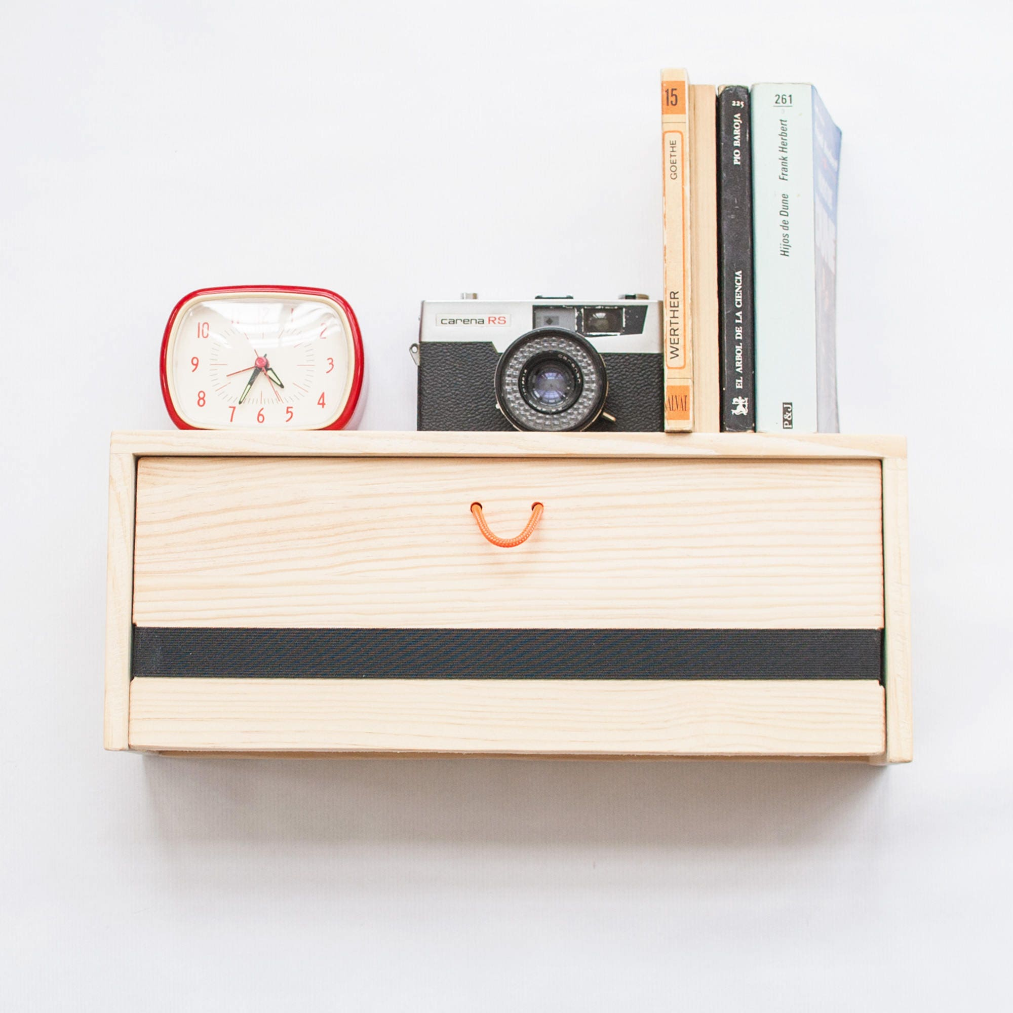 Floating wood nightstand Modern floating shelf with drawer