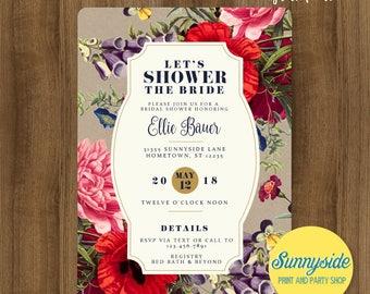 Modern vintage floral bridal shower invitation with wildflowers // printable invitation // wedding shower invite // kraft navy gold