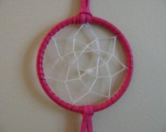 "3"" Dream Catcher , Pink Dream Catcher , Rose Quartz , Dreaming Tool , Spiritual Tool , Pretty In Pink , Turkey Feathers , Healing Tool"