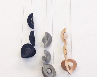 Modern necklace | Contemporary jewelry | Long necklace with contemporary handmade leather and wood pendant