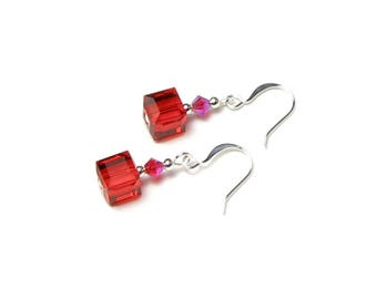 Light Siam Red Swarovski Crystal Cube Small Silver Dangle Earrings AB2X Red Bridesmaids Accessory Wedding Gifts Women's Boxed Jewelry Sets