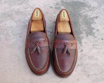 Vintage Mens 9.5 HS Trask SLip On Loafers Leather Loafers Dress Shoes Oxfords Wingtips Brogues Frill Fringe Loafer Boat Shoes Classic Shoes