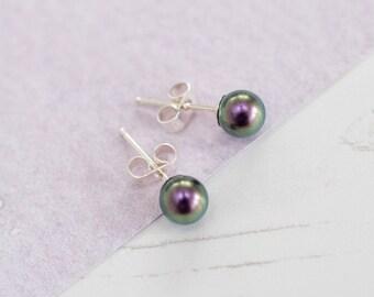 Purple Stud Earrings, Purple Bridesmaid Earrings, Purple Earrings, Purple Pearl Studs, Purple Wedding, Purple Wedding Accessories,