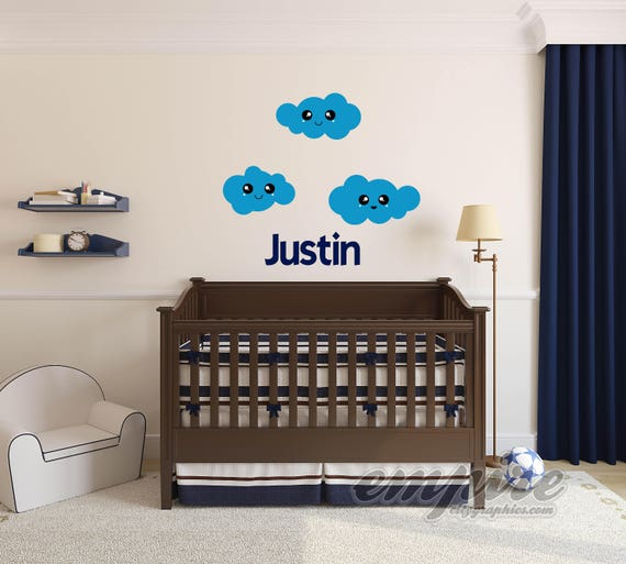 Kawaii Clouds, Kawaii faces, Personalized Girls Name Wall Decal, Custom Boys Name