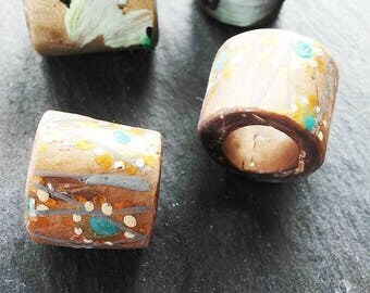 Polymer clay tube beads, hand painted art beads, accent beads