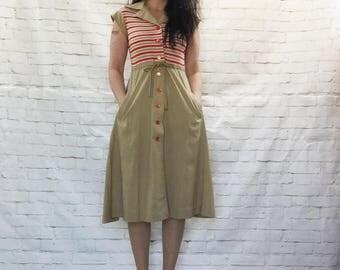 Iconic Vintage 70s Striped Safari Midi Dress S M Belted Pockets Cap Sleeves Red Khaki Stranger Things