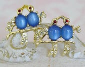 Vintage Pair of Love Bird Brooches with Blue Moonglow Bellies and Rhinestones