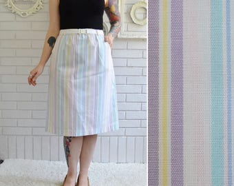 Vintage White and Pastel Striped Skirt with Pockets and Belt Size Small or Medium
