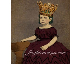 Altered Art Print, Princess Art, Gold Crown, Victorian Girl, Mixed Media Collage, Unusual Wall Decor, 5x7 or 8x10 Print