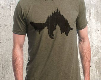 Men's T-Shirt - Fox and Forest - Screen Printed Men's Tri-Blend T-Shirt