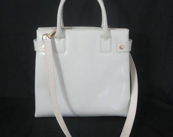 GUCCI large VINTAGE white patent leather shoulder top handle satchel handbag ITALY