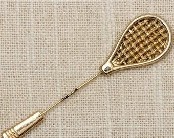 Gold Novelty Tennis Racket Stick Pin Badminton Vintage Stickpin 7R