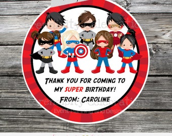 Superhero Favor Tags, Superhero Stickers, Set of 12 Personalized Favor Tags, Stickers, Thank You Tag, superhero baby shower, boy girl