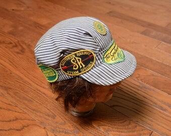 vintage engineer hat industrial railroad stripe denim conductor hat denim cap Buster Brown Sourthern Railroad SR patch pin