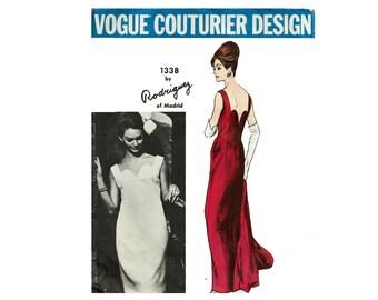 1960s Vogue Gown Designer Pedro Rodriguez of Madrid Vogue Couturier Design 1338 Evening Dress & Stole Size 10 Bust 31 Vintage Sewing Pattern