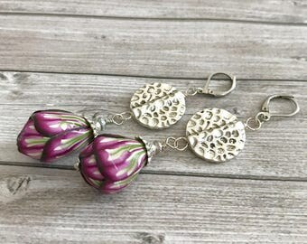 Red Bud flower earrings - pink earrings - Bohemian boho Earrings - dangles floral earrings - Unique Gift - Romantic jewelry - Gift for her